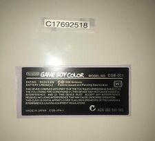 1 Ersatz Seriennummer + 1 Stiker Label Aufkleber für Nintendo Gameboy Color