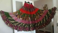Impresionante en niveles de múltiples colores falda de danza del vientre * Folk BANJARA TRIBAL Libre Talla Gitano