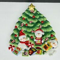 Vintage 3D Fitz and Floyd Christmas Tree Snowman Collectible Plate