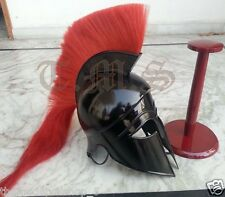Greek Corinthian Helmet Red Plume Armor Medieval Knight Spartan Free Wood Base