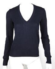 DOLCE & GABBANA Dark Blue Cotton Knit V-Neck Sweater 42