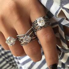 3Pcs/Set Vintage Crystal Charm Wedding Jewelry Silver Color Hollow Knuckle Rings