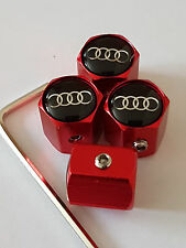 AUDI BLACK TOP RED ANTI THEFT DUST VALVE CAPS LIMITED ALL MODELS RETAIL PACKED