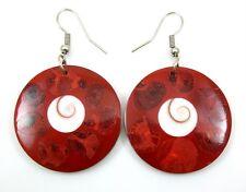 PRETTY RED CORAL AND SHIVA EYE earrings ; EA276
