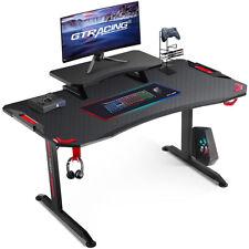 Gtracing Gaming Desk47 Inch Gaming Desk With Adjustable Workstationt Shaped