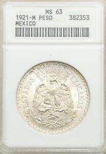 MEXICO ESTADO UNIDOS 1921 CAP & RAYS 1 PESO COIN, CHOICE UNCIRCULATED ANACS MS63