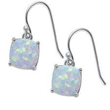 Cushion Shape White Fire Opal Dangle Style .925 Sterling Silver Earring