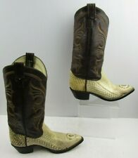 Men's Longhorn Brown / Cream Snakeskin Pointed Toe Cowboy Boots Size: 6 E