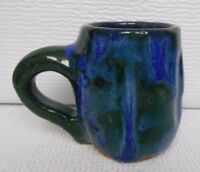 Studio Pottery Stoneware Mug Hand Made Primitive Dimpled Drip Glaze Blue & Green