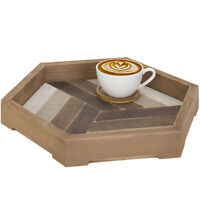 MyGift 12 Inch Rustic Geometric Hexagon Wood Serving Tray with Chevron Design