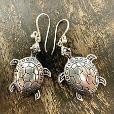 Sterling Silver 925 Turtle Tortoise Dangly Earrings Animal Lovers Gift