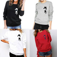 Women Casual Long Sleeve Crew Neck Sweatshirt Jumper Cat Print Loose Blouse Tops
