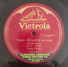 """RARE 78 RPM 10"""" ONE SIDED VICTROLA TENORE ENRICO CARUSO TOSCA RECONDITA ARMONIA"""