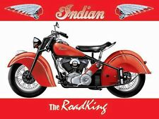 Indian Road King Motorcycle, Classic American Motorbike, Medium Metal/Tin Sign