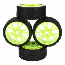 4x RC 1:8 Off-Road Car Green Plastic12 Spoke Wheel Rim and High Grip Rubber Tyre