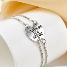 """2pcs """"Partners in Crime"""" Bracelet Anklet Friendship Set Best Friends Silver Tone"""