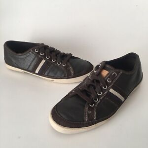 Coach Mens Skater Brown Leather Suede Canvas Sneakers shoes 9.5