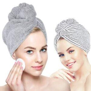 2* Hair Drying Towel Hat Bath Shower Head Turban Wrap Absorbent Hair Towels Cap