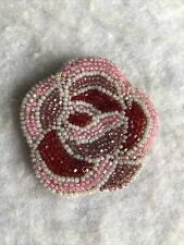 Vintage Beaded Purse Glass Beaded 1940s 1950s Leather Lines Floral Rose Retro