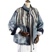 women bling Sequins denim blue vintage boho hippie denim jacket coats outwear