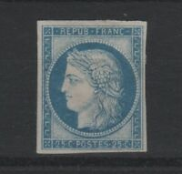 "FRANCE STAMP YVERT SCOTT 4  "" CERES 25c BLUE 1850 "" MH VF SIGNED  T535"