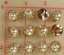 "12 vintage med gold metal rhinestone buttons glass pearl center 5/8"" 16mm #138"