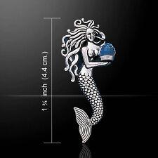 Mermaid .925 Sterling Silver Pendant Bermuda Blue Swarovski Gemstone Peter Stone