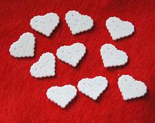 "Pearlized White Wedding Hearts / Jesse James Dress It Up / 3/4"" Flat Back / NIP"