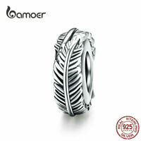 BAMOER Women European CZ Charm S925 Sterling Silver feather Fit Bracelet Jewelry