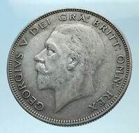 1935 Great Britain United Kingdom UK King GEORGE V Silver Half Crown Coin i78096