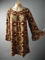 Vtg-y 70s Earthy Desert Tribal Print Sweater Knit Shift 125 mv Dress 1XL 2XL 3XL