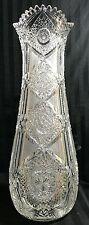 RARE ANTIQUE ABP J. HOARE ACME PATTERN SUPERIOR HEAVY THICK 181/2 CUT GLASS VASE
