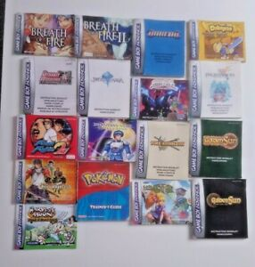 Game Boy Advance (GBA) Games - Instruction Manuals ONLY - (PAL)