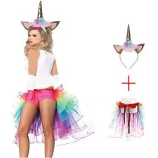 Halloween Ladies Girls Fancy dress Skirt  MAGICAL RAINBOW UNICORN tutu COSTUME