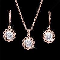 Luxurious Gold Plated Flower Pendant Jewelry Set Women Wedding Necklace Earrings