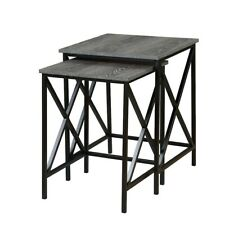 Convenience Concepts Tucson Nesting End Tables, Weathered Gray/Black - 161869WGY
