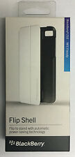 New RIM Blackberry Z10 OEM Leather Flip Shell Carrying Case Stand Retail White