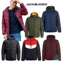 New Mens Jack&Jones Light Puffer Jacket Hood Blue Black Red White Green Burgundy