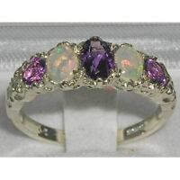 VINTAGE English design Solid Sterling Silver Natural Amethyst & Fiery Opal Ring