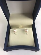 14k white gold Akoya Pearl and Diamond Earring