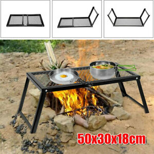 Camping Grill Adjustable Camp Fire Cooking Grate Outdoor BBQ Picnic New US Sell