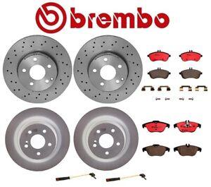 For MB W204 C Class Front Rear Brembo Brake Kit Disc Rotors Ceramic Pads Sensors