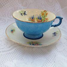 "Atlas 'Grimwades' "" Tea Cup & Saucer  Blue/Garden/Delphinium/ Sunflower  944"