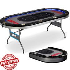 Premium Poker Table Foldable ESPN 10 Player Card Casino Game Room w/ LED Lights