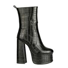 Women Gothic Block High Heels Ankle Boots Snake Pattern Platform Shoes Punk Club