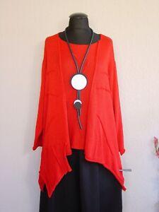 Moonshine Fashion° Lagenlook Zipfel Pullover Biesen Baumwolle ~ Rot ~ one size