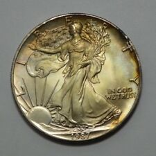 1987 American Silver Eagle Dollar 1 Oz Fine Silver Coin, Natural Toning, UNC/MS!