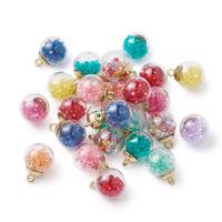 100pcs Colorful Glass Ball Pendants Rhinestone Smooth Mini Charms Craft 21x15mm