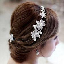 Women Wedding Flower Beauty Crystal Headband Fashion Hair Accessories Clip EW