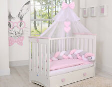 Luxury 10pcs  Nursery BEDDING SET/KNOT/PILLOW/DUVET/COVER/CANOPY 4 cot/cot bed